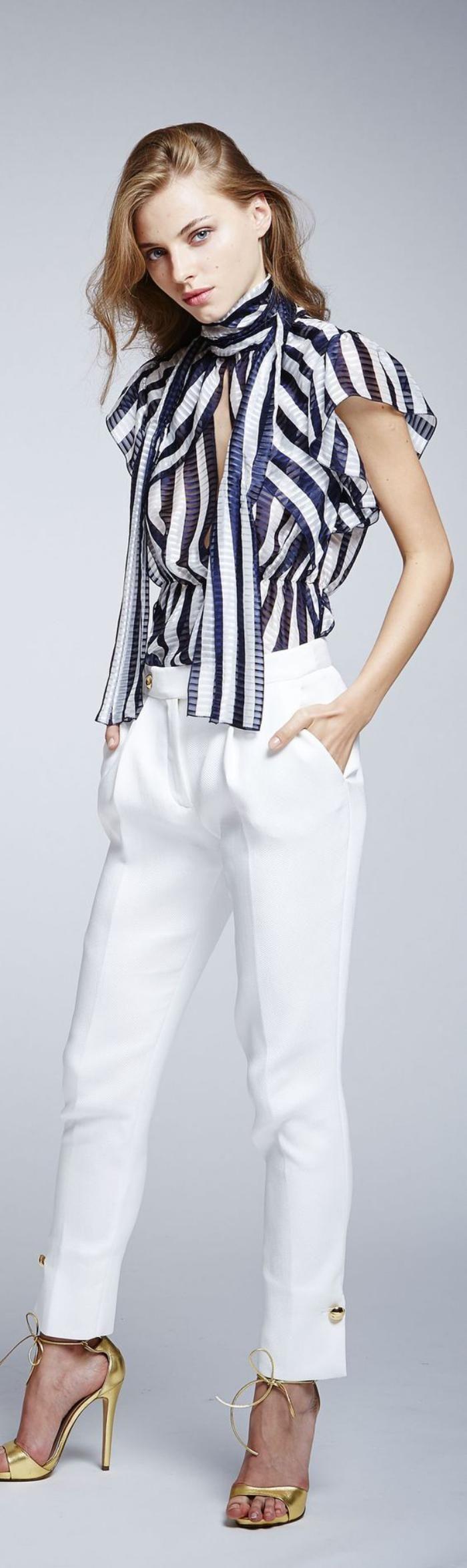 chemise rayée femme, outfit super chic, un chemisier superbe à rayures larges