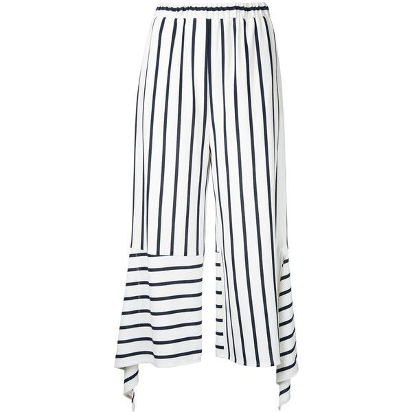 Goen.J stripe cropped trousers (1,130 MYR) ❤ liked on Polyvore featuring pants, capris, white, white striped pants, white crop pants, white cropped trousers, white trousers and striped pants