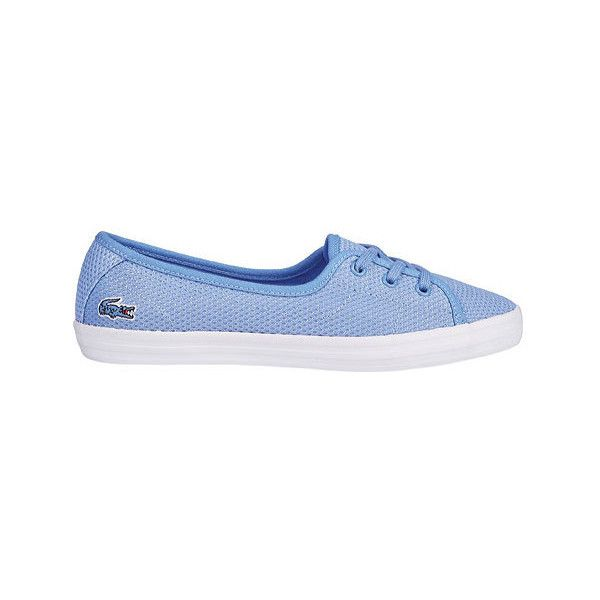 Women's Lacoste Ziane Chunky 216 1 Sneaker ($75) ❤ liked on Polyvore featuring shoes, sneakers, blue, casual, casual shoes, sport shoes, lace up sneakers, blue polka dot shoes, sport sneakers and lacoste trainers