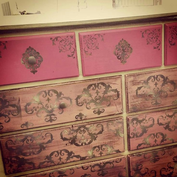 Girls dresser finished in Lavender Grey and shades of pink, cream and silver