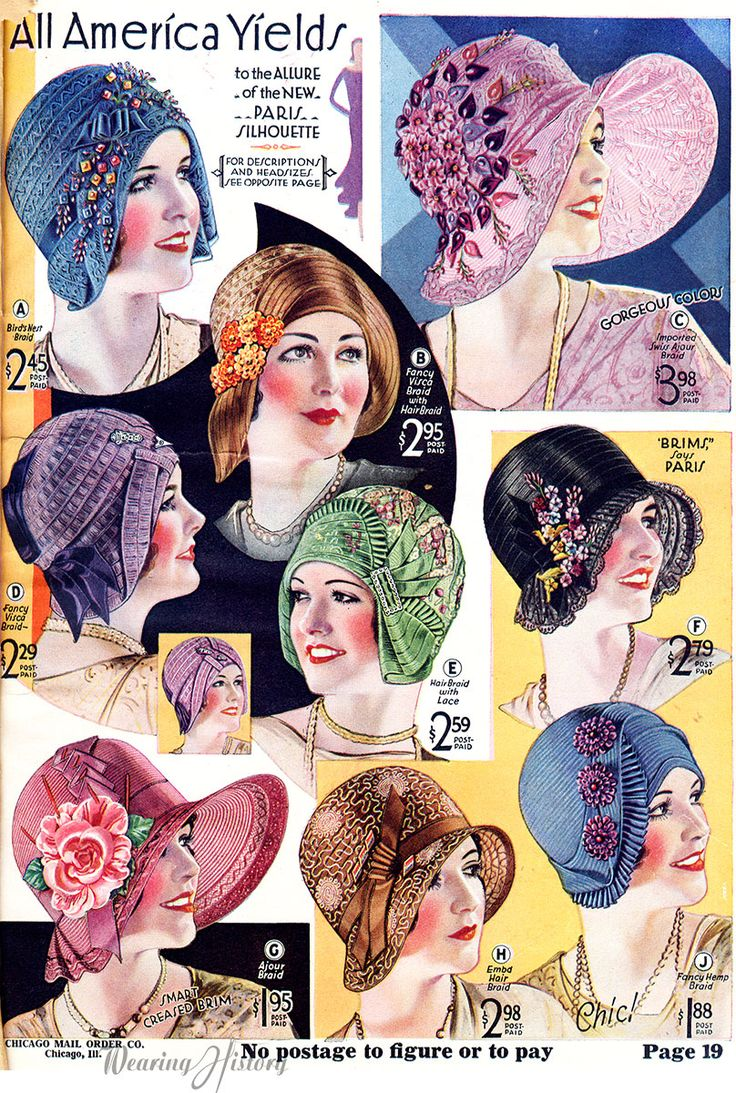 1930 hats on #wearinghistory color photo print ad model magazine vintage fashions style 20s 30s