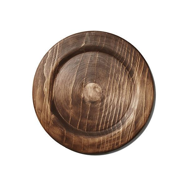 Rustic Wood Plate Charger Chargers ($32) ❤ liked on Polyvore featuring home, kitchen & dining, dinnerware, brown, serveware, brown dinnerware, brown plates and brown charger plates