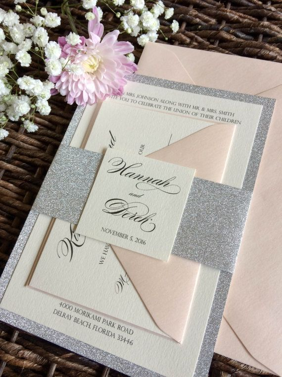 Silver Glitter Wedding Invitation with Glitter Belly Band, Silver and Blush…