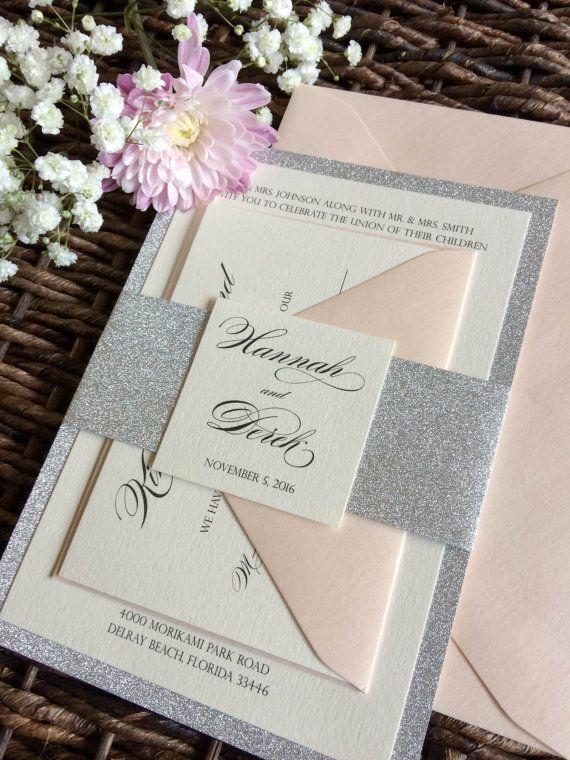 Silver Glitter Wedding Invitation with Glitter Belly Band, Silver and Blush Glitter Invitation, Silver Wedding Invitation