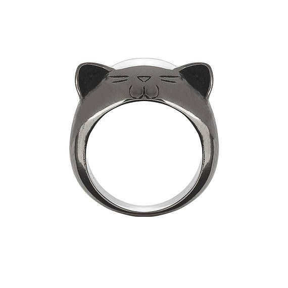 Black Rhodium Plated Silver Big Kitty Ring.