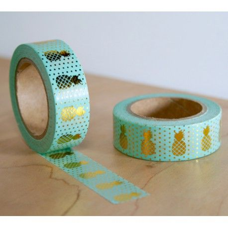 masking tape vert ananas dorés washi tape green pineapple gold