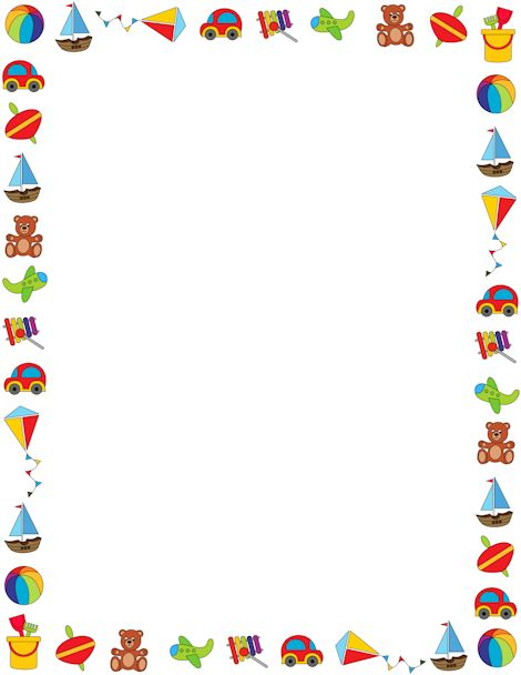 Boy Toys Border : Colorful border on a white background featuring children s