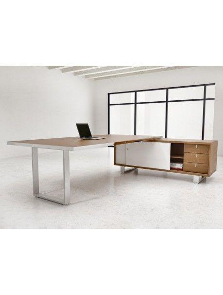 Bureau de direction avec crédence de rangement ARCHIMEDE, design contemporain et ultra fonctionnel, un produit 100 % italien par ALEA OFFICE