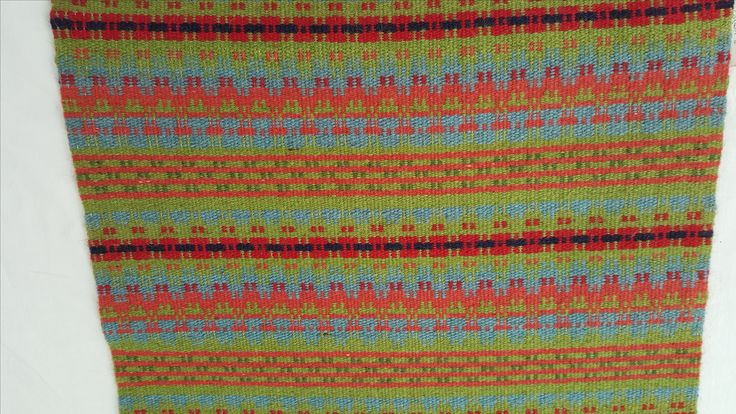 1089 - closeup of handwoven runner/hanging showing detail of Norwegian design