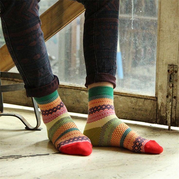 Мужские Носки Человек Красочные Полосы Многоцветный Хлопчатобумажные Носки Дизайн Одежды Осень Зима Теплая Мягкий Мужской Случайный Лодыжки Носок купить на AliExpress