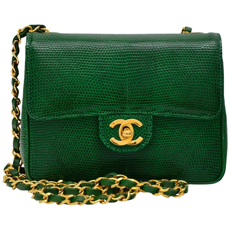 CHANEL Rare Vintage  Emerald Green Lizard Mini Handbag  Excellent   From a collection of rare vintage evening bags and minaudières at https://www.1stdibs.com/fashion/handbags-purses-bags/evening-bags-minaudieres/