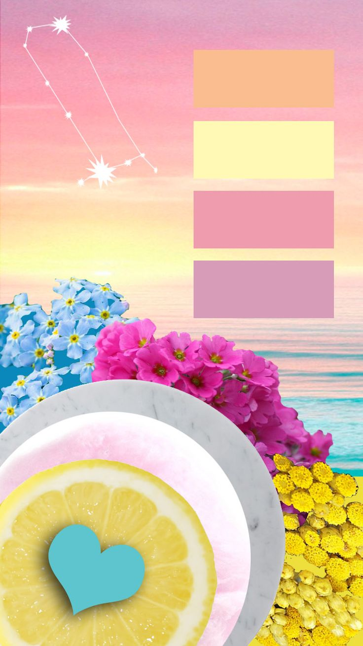 wallpaper, pink , sunset, collage, Gemini, flowers, blue, yellow