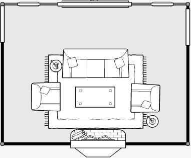 Living Room Rug And Furniture Configurations Diagram
