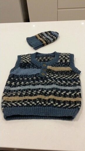 Vest and beanie made for Tex's 3rd birthday.