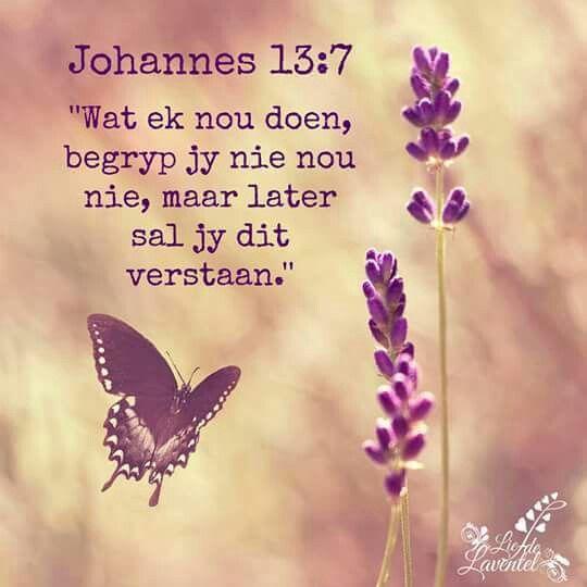 "Teks - Johannes 13:7 ""...later sal jy dit verstaan..."" #Afrikaans #Heartaches&Hardships"