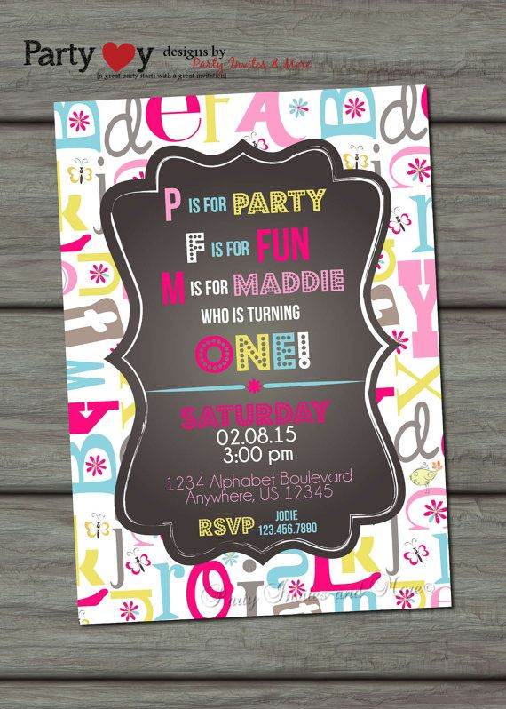ABC Birthday Invitation First Birthday by PartyInvitesAndMore