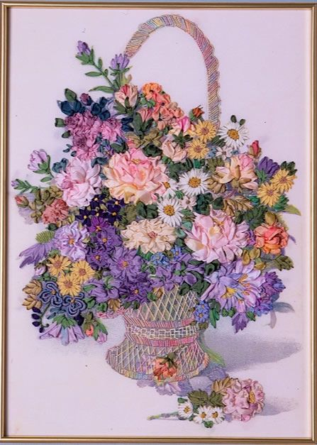 Basket of flowers ribbon work pinterest flower silk