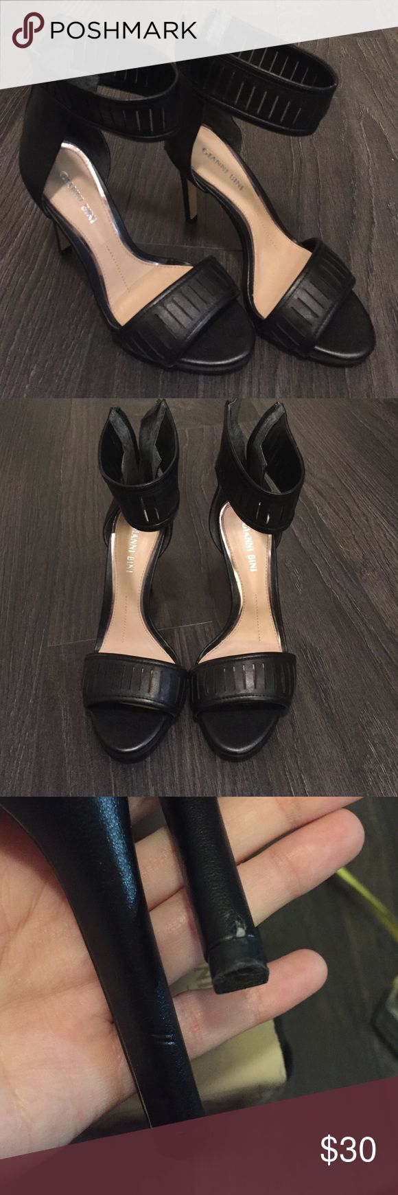 Gianni Bini Black Strap Heel Used in great condition. Black. Size 6. 4 in Heel. Scuffs apparent on heels only when holding shoe up to eye level Gianni Bini Shoes