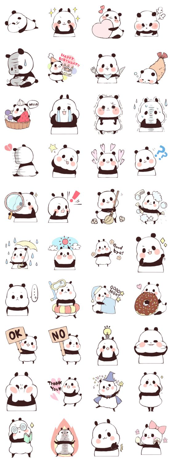 Line Sticker panda character, cute fat Kawaii