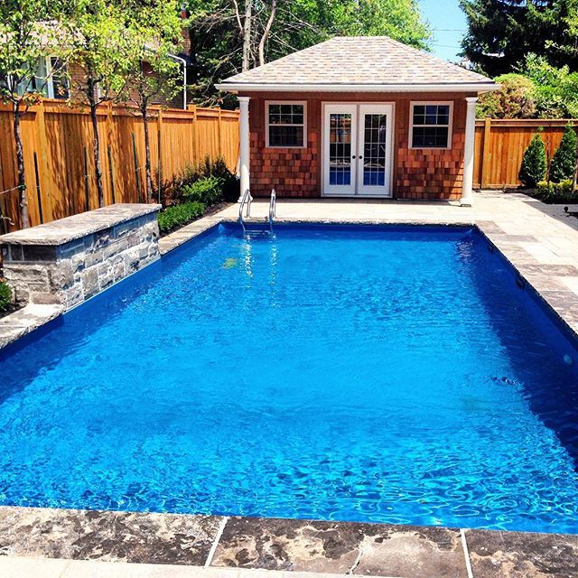 clean rectangle with sheer descent water feature and pool house inground pools by pioneer family pools pinterest pool houses water features and - Rectangle Pool With Water Feature