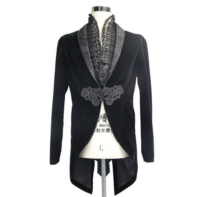 Steampunk Victorian Style Swallow Tail Coats Gothic Men's Dress Jacket