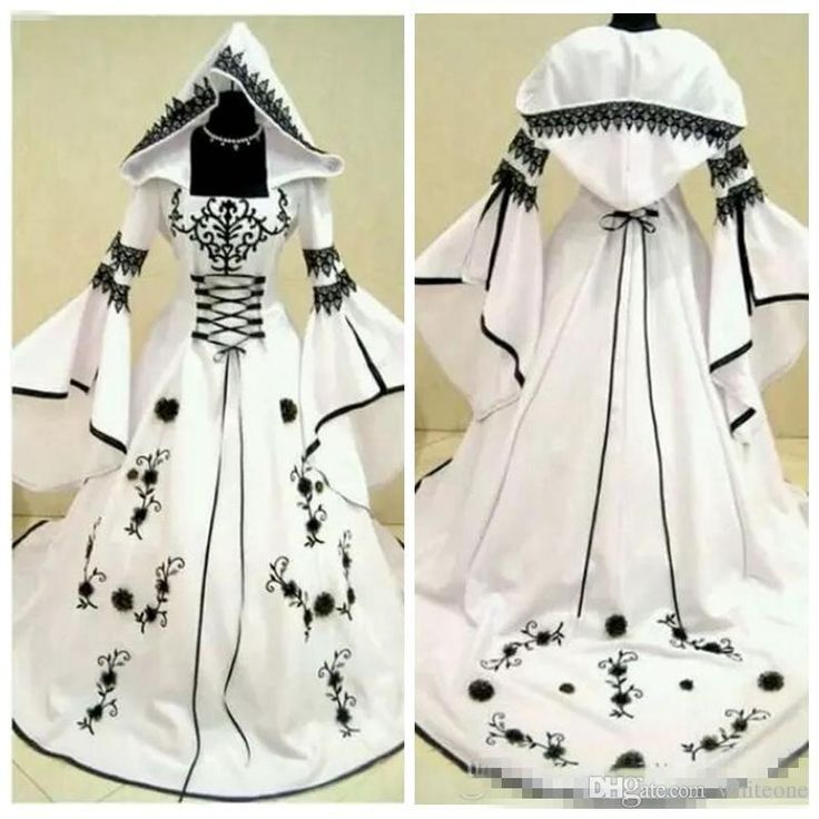 2019 Vintage Celtic Black and White Wedding Dresses with Hat A Line Unique Bridal Gowns with Exquisite Embroidery Corset Top Custom Made 1