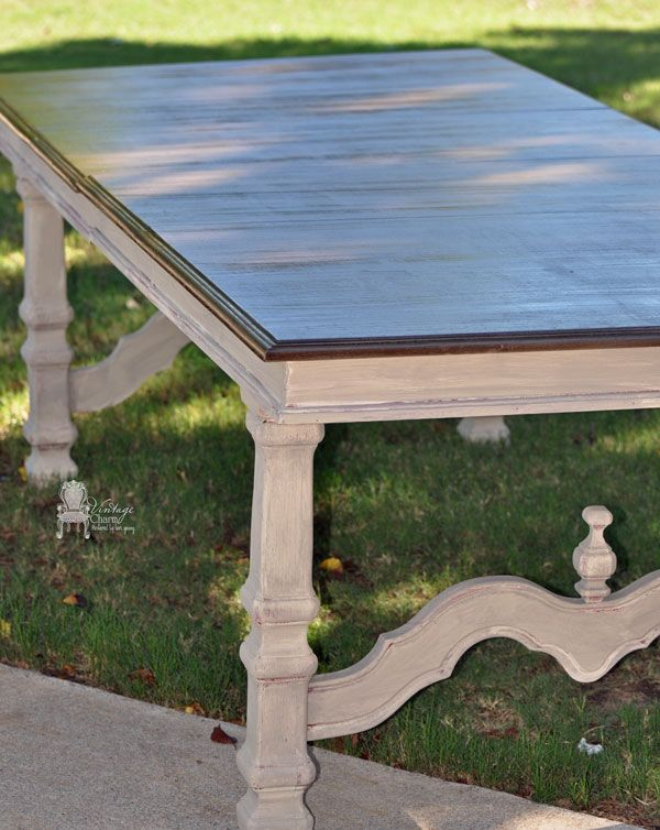 Layered CeCe Caldwell Paints create this gorgeous Table Redoux.  VintageCharmRestored