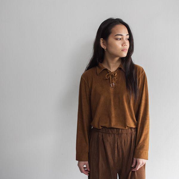 [Sautum] レディース フェイクスウェード レースアップシャツ ブラウン - メンズ&レディース 渋谷古着屋 通販 mericca Webストア