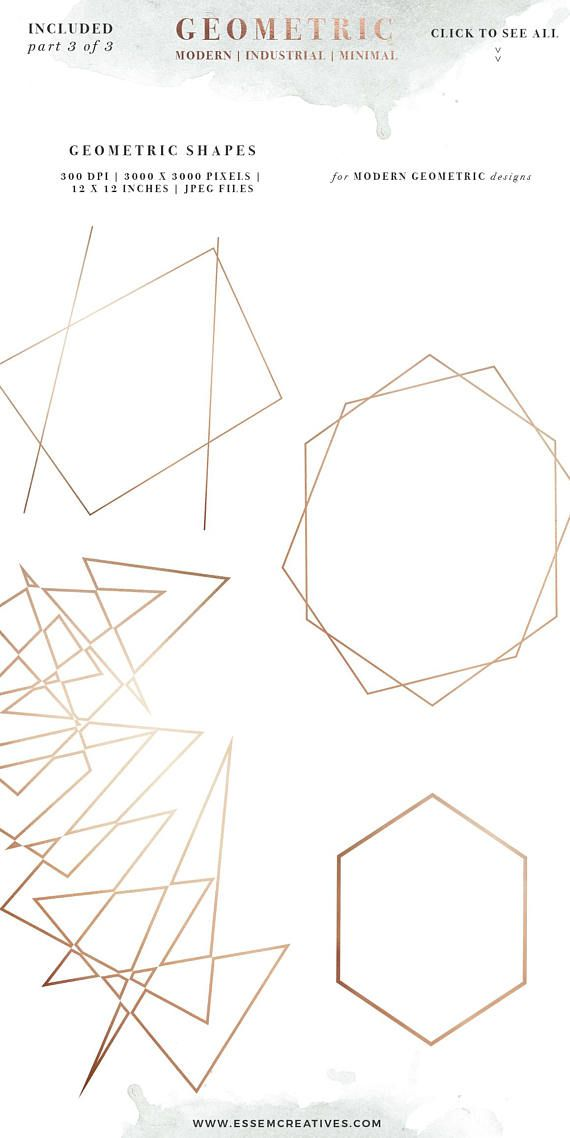 34f28045865a Rose Gold Geometric Watercolor Clipart