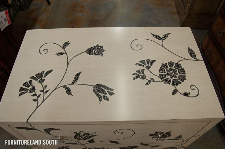 painted  black  white  chest  | Height: 34.25""