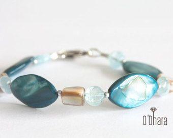 Blu semi-preziose pietre madreperla rivestimento girocollo