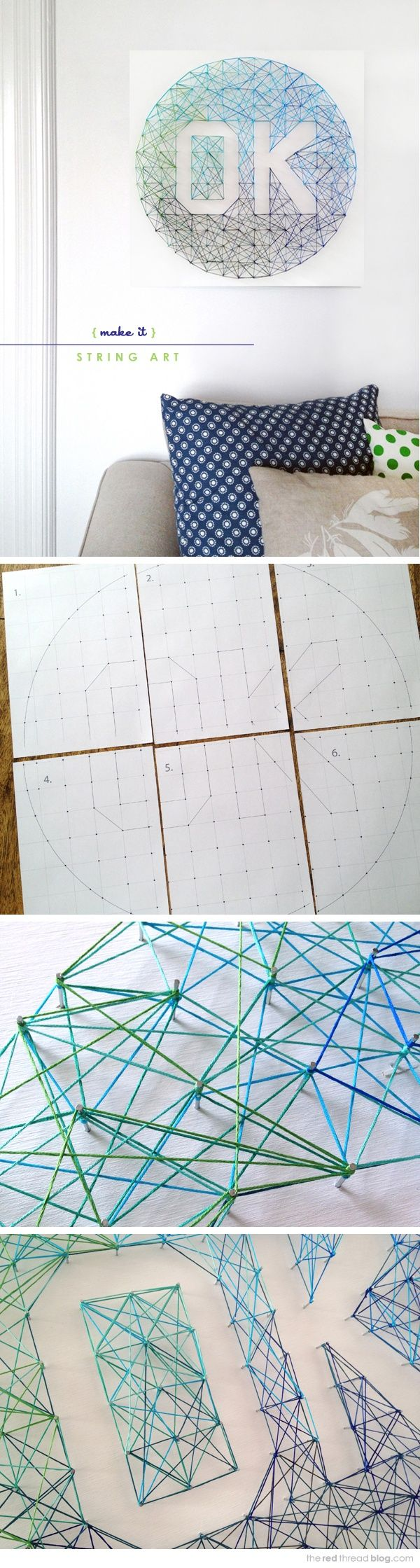 DIY string art tutorial & free printable template - the red thread