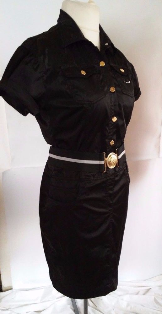 GUCCI black cotton dress with a belt and short sleeves size xxl #Gucci #WigglePencil #LittleBlackDress