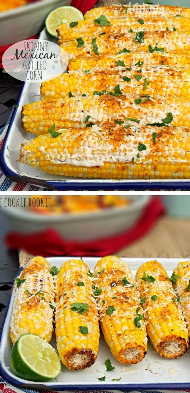 Skinny Mexican Grilled Corn is the perfect Summer side dish for BBQs! So easy and flavorful!