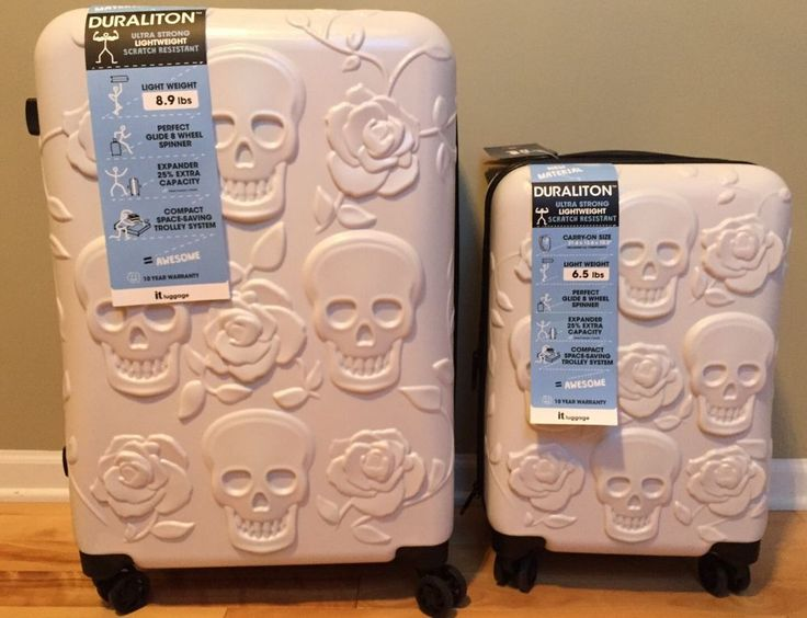 "IT Luggage White Skull Hard-side Expandable Suitcase Spinner 2 Pc Carry On & 26"" in Travel, Luggage 