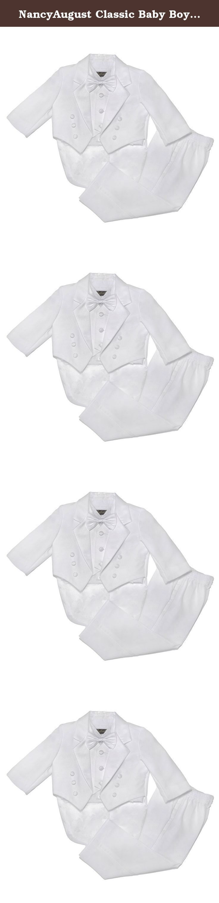 NancyAugust Classic Baby Boy to Teen Formal Tuxedo with Tail in White-White-M. The timeless elegance of the classic baby boys tuxedo makes it a must-have for every little guy's closet. Great for any special event, this beautiful number is sure to adore the crowd at any wedding or occasion. Your baby boy will be the star of the event in this rich black baby boys tuxedo. This adorable black boys tuxedo set features a beautiful single breasted jacket with tail, satin notch lapel, baby boys...