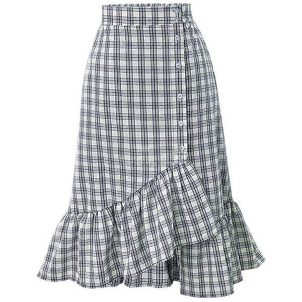 Flounce  Decorative Button  Plaid  Mermaid Midi Skirt ($29) ❤ liked on Polyvore featuring skirts, summer midi skirts, ruffled skirts, frill skirt, flouncy skirt and flounce skirt