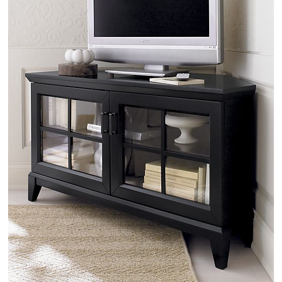 Paterson black 48 corner media console is inspired by Modern media console