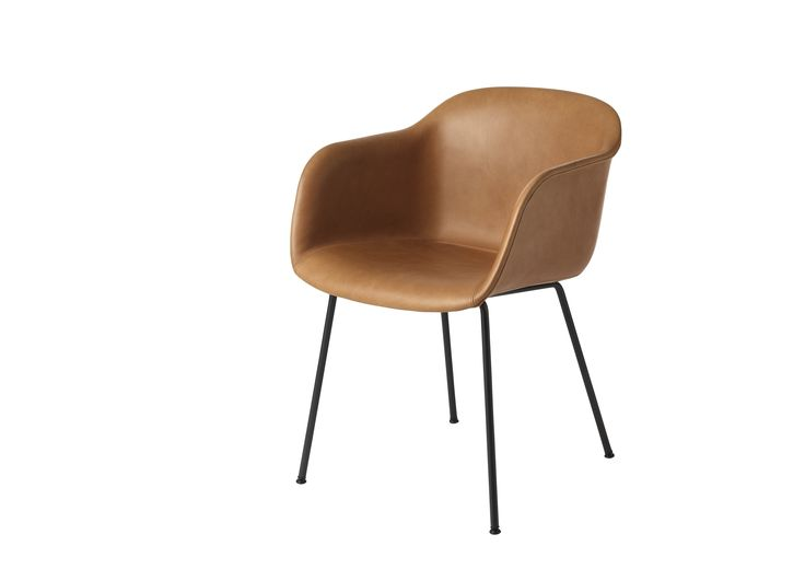 Chaise+Fiber+Tube+Base+Cognac+Silk+Leather+-+Muuto 849€