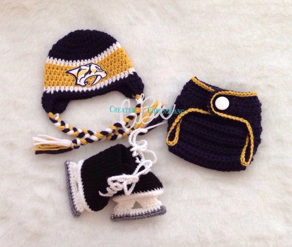 Newborn Baby Hockey Hat Hockey Skates Predators inspired