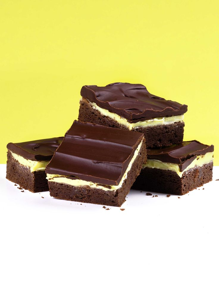 Grasshopper squares (mint chocolate brownies): Imagine an After Eight in a delicious brownie. These mint and brownie layered bars use dark chocolate for a more grown-up flavour, perfect for an after-dinner treat. Makes 9 brownies.