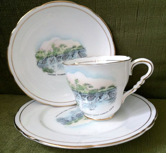 Vintage Royal Stafford 3 Piece Demitasse Made in England Fine Bone China Featuring the image of the Bielsdown Creek Waterfalls, NSW. VCH0053