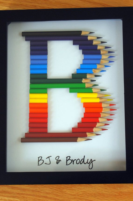 Personalized Teacher/Child gift: monogram in Colored Pencil