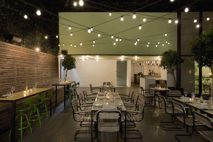 String Lights - Indoor Outdoor - Patio Terrace - Hospitality Design - Commercial Interior - Restaurant Ideas