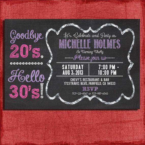 30th, 40th, 50th Chalkboard Style Birthday  Invitation 4x6 or 5x7 Invitation for adults-DIY Printable on Etsy, $15.00