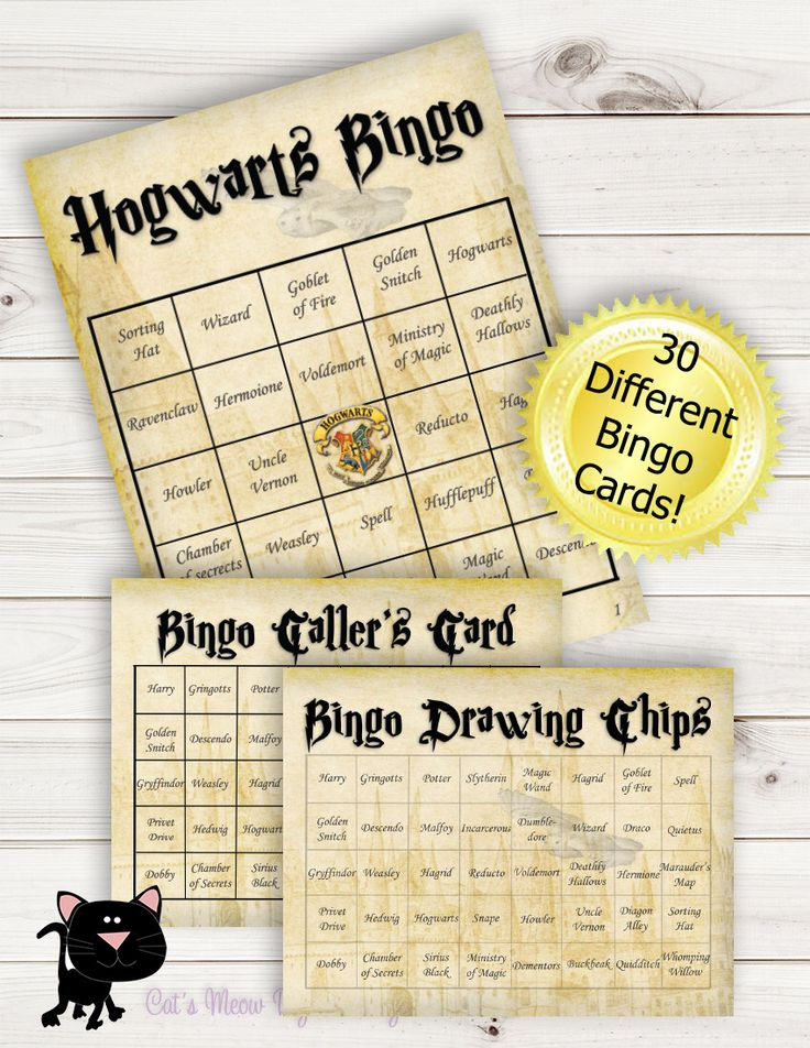 Harry Potter Bingo Cards, Caller's Card and Drawing Chips, Game, Games by CatsMeowDDesigns on Etsy https://www.etsy.com/listing/249119766/harry-potter-bingo-cards-callers-card