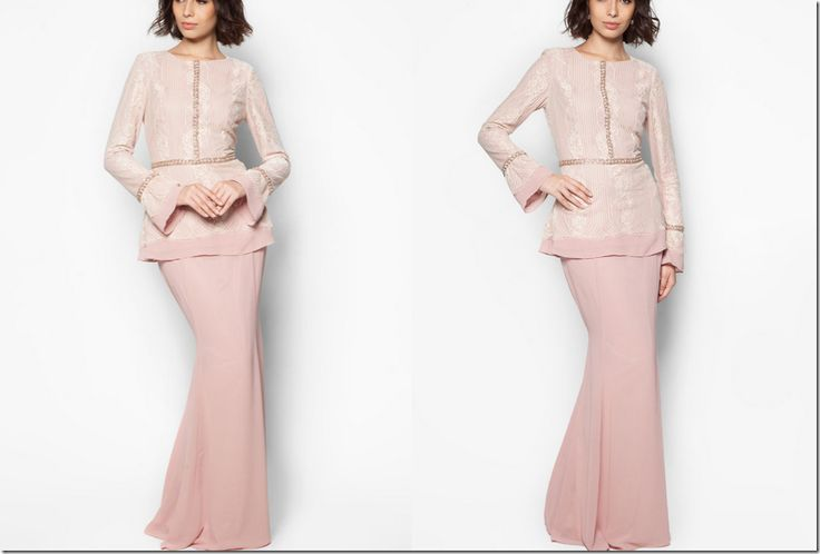 On Modesty & Ready To Wear JLuxe By Jovian Collection For Raya 2015: dusty-pink-lace-modern-kurung