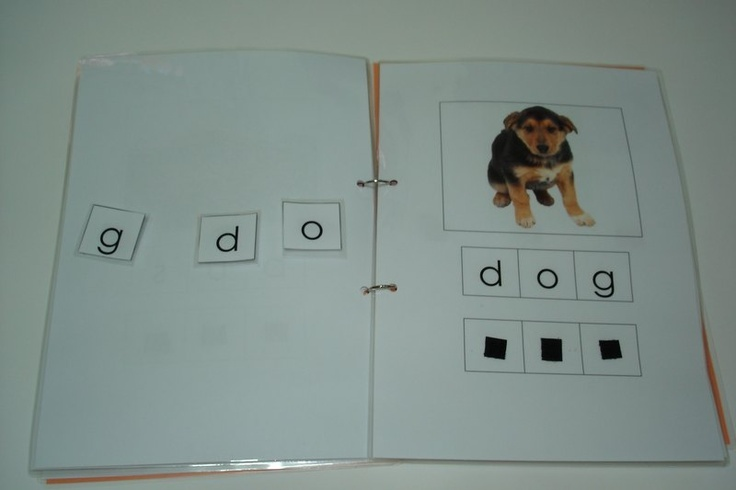 work task- can do a similar book with 4/6/8 CVC words to spell using dry erase- change words daily. Add math tab for counting/# recognition activities.