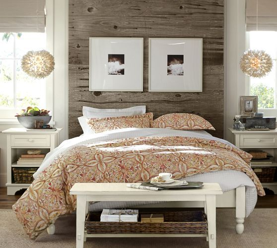 Universal Platform Bed | Pottery Barn | Unique focal wall / headboard effect.