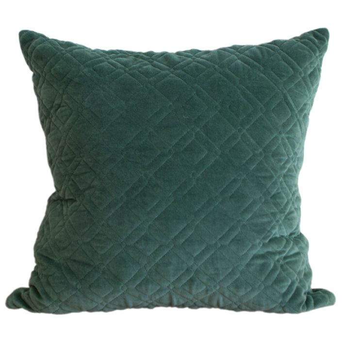 Groen kussen van velours met doorgestikt patroon. Heerlijk zacht kussen van het merk Funky Doris. Prachtig warme kleur donkerder groen. Gratis verzending.